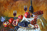 Grapes Paintings - Grapes and Pomgranates by Ylli Haruni