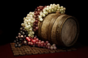 Vino Photo Posters - Grapes and Wine Barrel Poster by Tom Mc Nemar