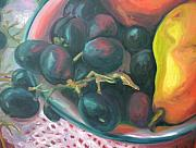 Aleksandra Buha Art - Grapes and Yellow Pear by Aleksandra Buha