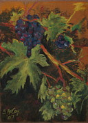 Wine Vineyard Pastels Posters - Grapes Poster by Brian McCoy