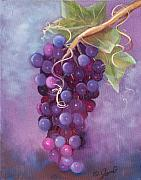 Food And Beverage Paintings - Grapes by Joni McPherson
