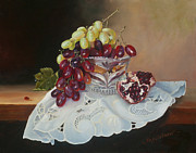 Bunch Of Grapes Painting Framed Prints - Grapes Framed Print by Larisa Napoletano