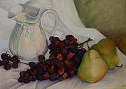 Pitcher Painting Originals - Grapes by Linda Capizano