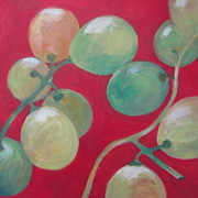 White Grape Paintings - Grapes No. 18 by Kazumi Whitemoon