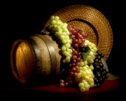 Wine Barrel Art - Grapes of Wine by Tom Mc Nemar