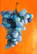 Bunch Of Grapes Framed Prints - Grapes on Orange Framed Print by Diane Kraudelt