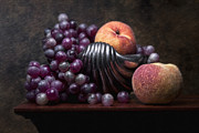 Peaches Photo Metal Prints - Grapes with Peaches Metal Print by Tom Mc Nemar