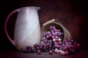 Pottery Pitcher Metal Prints - Grapes with Pitcher Still Life Metal Print by Tom Mc Nemar