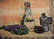 Wine-bottle Pastels - Grapes with Wine and Espresso by Mary Capriole