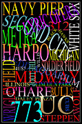 Chicago Landmarks Posters - Graphic Chicago 1 Poster by Andrew Fare