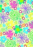 Motif Digital Art Prints - Graphic Flowers Print by Louisa Knight