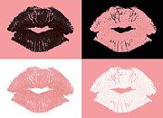 Lips Posters - Graphic lipstick kisses Poster by Blink Images