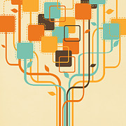Parchment Posters - Graphic Tree Poster by Setsiri Silapasuwanchai