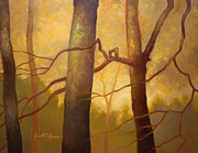 Pallet Knife Prints - Graphic Trees Print by Jonathan Howe