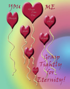 Valentine Sentiments Posters - Grasp Tightly for Eternity Poster by Cathy  Beharriell