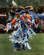 Colorful Native American Framed Prints - Grass Dancer Framed Print by Terril Heilman