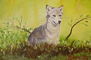 Realistic Wolf Framed Prints - Grass Wolf Framed Print by Terry Lewey