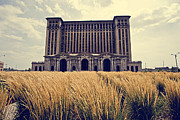 Alanna Pfeffer Framed Prints - Grassy Michigan Central Station - Detroit Framed Print by Alanna Pfeffer