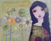 Luna Mixed Media Prints - Gratitude Print by Christina Fajardo
