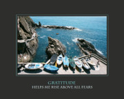 Cinque Terre Posters - Gratitude Helps Me Rise Above All Fears Poster by Donna Corless