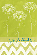 White Blue Prints - Gratitude Print by Linda Woods