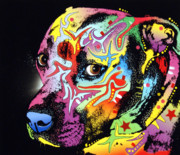 Colorful Mixed Media Prints - Gratitude Pit Bull Warrior Print by Dean Russo