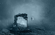 Eerie Digital Art Prints - Grave in a forest Print by Jaroslaw Grudzinski