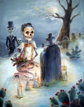 Skulls Paintings - Grave Sight by Heather Calderon