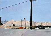 Hills Paintings - Gravel Piles Downtown LA by Peter Wilson