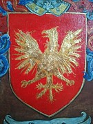 Family Coat Of Arms Art - Graves Family Coat of Arms close up by Nancy Rutland