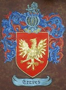 Coat Of Arms Paintings - Graves Family Crest and Coat of Arms by Nancy Rutland