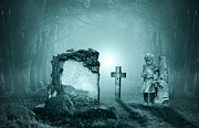 Haunted Digital Art - Graves in a forest by Jaroslaw Grudzinski