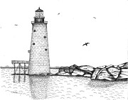 Boston Ma Drawings Framed Prints - Graves Lighthouse - Boston Framed Print by Tim Murray