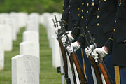 Ceremonies Prints - Gravestones And Honor Guard Print by Skip Brown