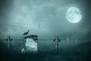 Grass Digital Art Posters - Gravestones in moonlight Poster by Jaroslaw Grudzinski