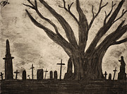 Graveyard Drawings - Graveyard by gothic old tree by Mike M Burke