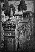 Graveyard Digital Art - Graveyard Grunge in Black and White by Kathy Clark