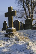 Mortality Framed Prints - Graveyard In Snow. Framed Print by Mark Williamson