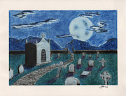 Horror Pastels Framed Prints - Graveyard Under a Blue Moon Framed Print by Sean Mann