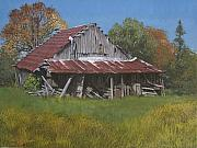 Egg Tempera Painting Metal Prints - Gray Farm Building Metal Print by Peter Muzyka