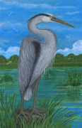 Polish American Painters Paintings - Gray Heron by Anna Folkartanna Maciejewska-Dyba