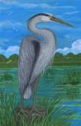 Gray Heron Print by Anna Folkartanna Maciejewska-Dyba
