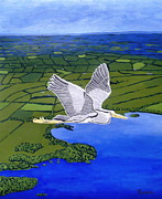 Eamon Reilly Posters - Gray Heron Flying over Lough Sheelin Poster by Eamon Reilly