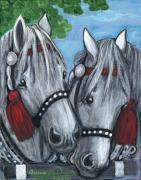 Polish American Painters Paintings - Gray Horses by Anna Folkartanna Maciejewska-Dyba