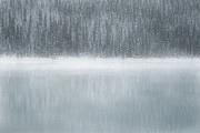 Canadian Winter Art Posters - Gray Lake Mist Poster by Andrea Hazel Ihlefeld