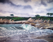 Laura Milnor Iverson Painting Originals - Gray Morning at Santa Cruz by Laura Iverson