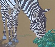 Zebra Paintings - Grazing at the Salad Bar by Anita Putman