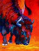 Bison Art - Grazing Bison by Marion Rose