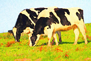 Pasture Digital Art Posters - Grazing Cows . Photoart Poster by Wingsdomain Art and Photography