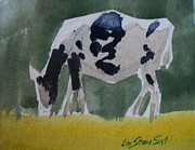 Berkshire Hills Posters Painting Originals - Grazing Holstein Heifer by Len Stomski